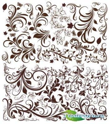 Курчавые цветочные декоративные элементы (Вектор)