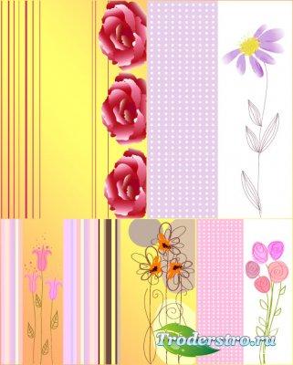 Полосатые цветочные дизайны (Вектор)