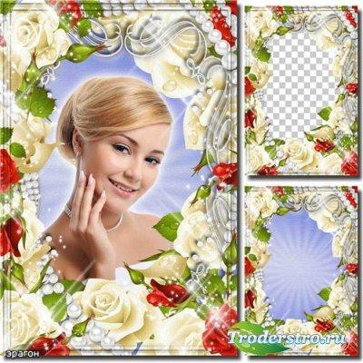 Цветочная рамка для фотошопа – Розы белые и красные