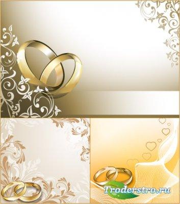 Свадебные фоны с кольцами (Вектор)