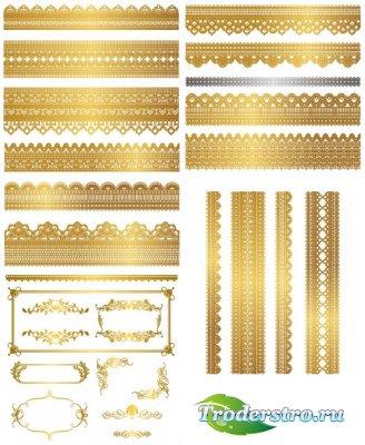 Золотые узорчатые ленты и рамки (Вектор)