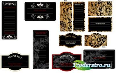 Черные ретро пригласительные карточки (Вектор)