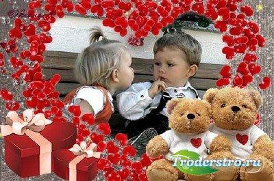 Романтическая фоторамка на день святого Валентина – С любовью от мишек