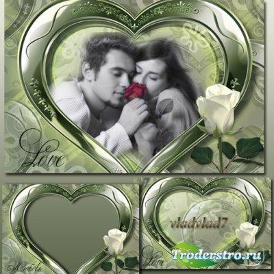 Романтическая фоторамка с белой розой - Любовь