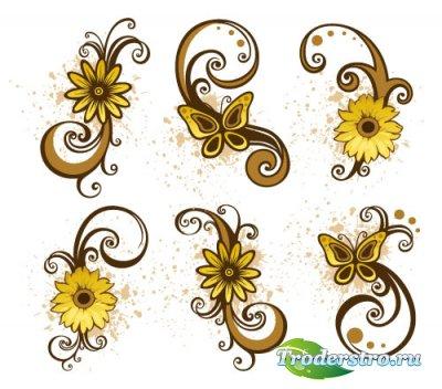 Желтые цветочные завитушки (Вектор)