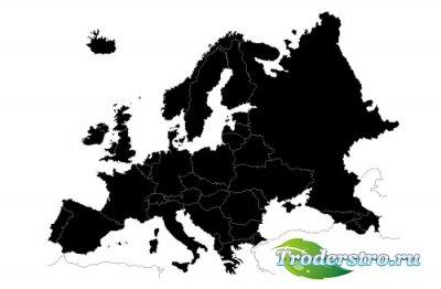 Черная карта силуэт европы (Вектор)