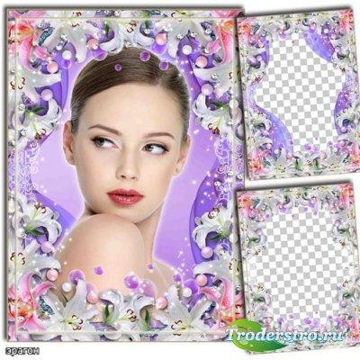 Цветочная рамка для фотошопа – Нежные лилии