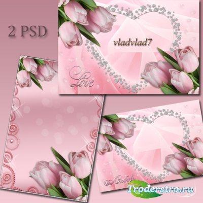 Романтическая фоторамка с тюльпанами - Любовь