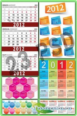 Красочные календарные сетки на 2012 год