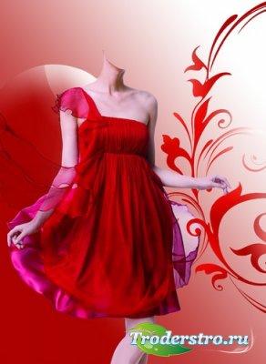 Шаблон для монтажа в Photoshop - В легком красном платье