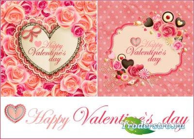 Винтажные валентинки с розами (Вектор)