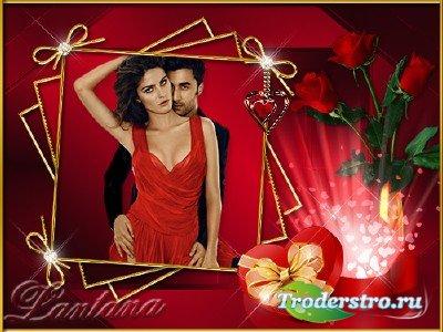 Рамка - День влюбленных в сером феврале снова вспыхнул алыми сердцами