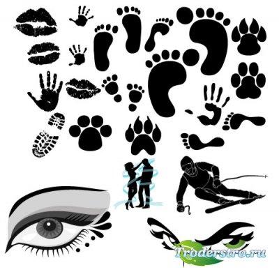 Силуэты рук, следы зверей и глаз (Вектор)