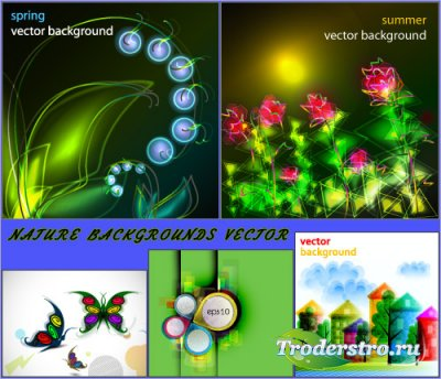Абстрактная природа цветы бабочки фоны (Вектор)