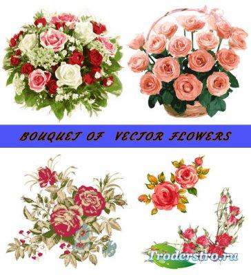 Букеты корзина с цветами (Вектор)
