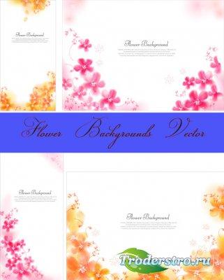 Оранжевые розовые цветочные фоны (Вектор)