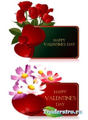 Зеленые и красные карточки с алыми розами (Вектор)