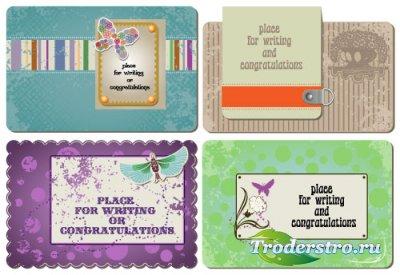 Визитные карточки с бабочками (Вектор)