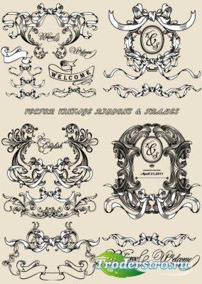 Старинные ленточные рамки и баннеры (Вектор)