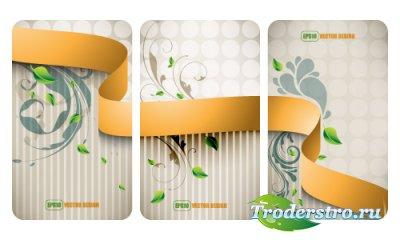 Бизнес карточки с ленточным дизайном (Вектор EPS10)