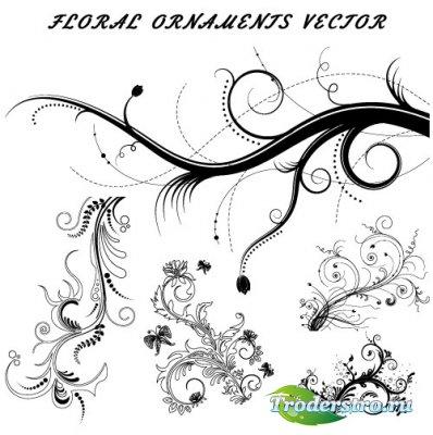 Набор цветочных декоративных элементов (Вектор)