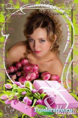 Рамка на 8 марта – Коробка с розовыми тюльпанами