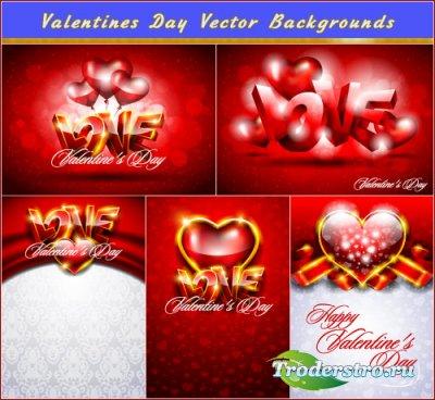 Любовные открытки с золотистыми валентинками (Вектор)