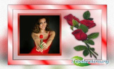 Женская рамка с красивыми розами