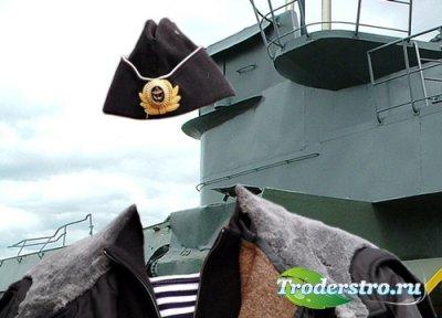Шаблон для фотомонтажа – Доблестный воин моряк.