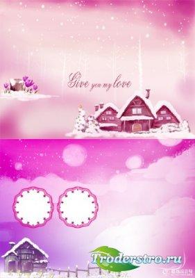 PSD Шаблон - Зимний розовый пейзаж