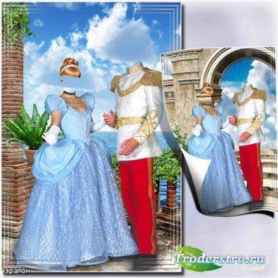 Парный шаблон для фотомонтажа – Принцесса и принц