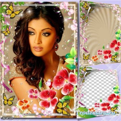 Женская рамка для фотошопа – С цветами и бабочками