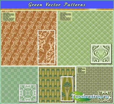 Салатово-зеленые паттерны (Вектор)