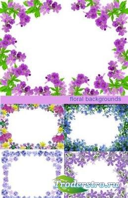 Набор цветочных фонов в виде рамок (HQ)