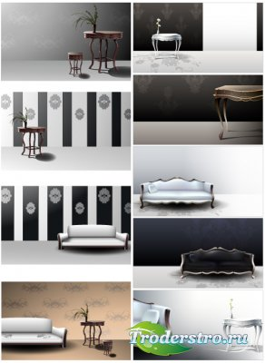 Векторный интерьер Диваны, кресло, столы