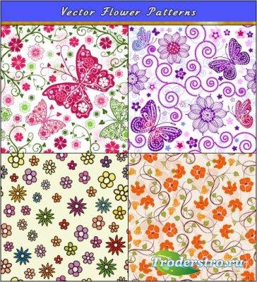 Фиолетовые вишневые паттерны с бабочками и цветами (Вектор)