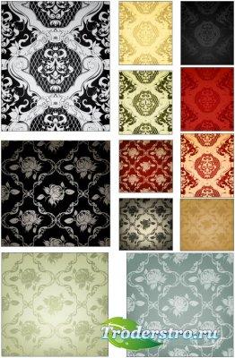 Разноцветные паттерны с богатым цветочным орнаментом (Вектор)