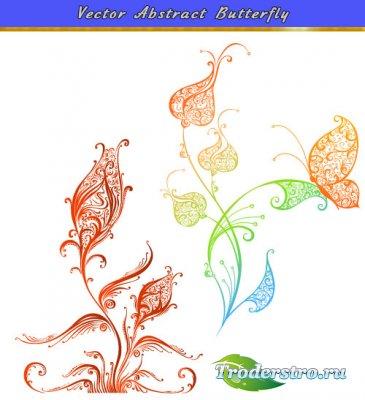 Абстрактная бабочка на траве (Вектор)