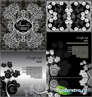 Черно-белые абстрактные фоны с завитками (Вектор)