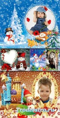 Новогодние Детские PSD Рамки для Adobe Photoshop