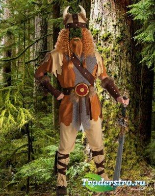 Шаблон для фотомонтажа  - Викинг в дремучем лесу.