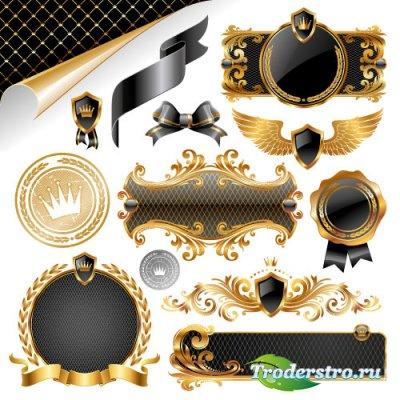 Золотые черные стикеры баннеры ленты (Вектор)