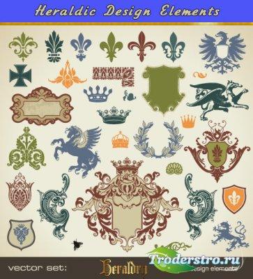 Геральдические гербы орнаменты лилия (Вектор)