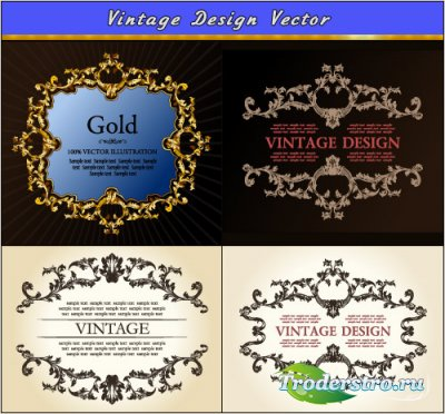 Геральдические декоративные и золотые рамки (Вектор)
