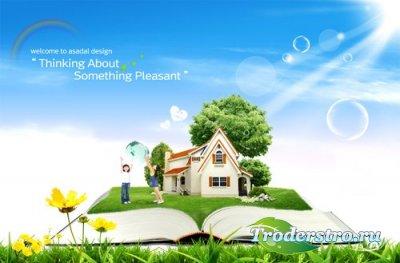 PSD Исходник - Счастливый Творческий Пейзаж