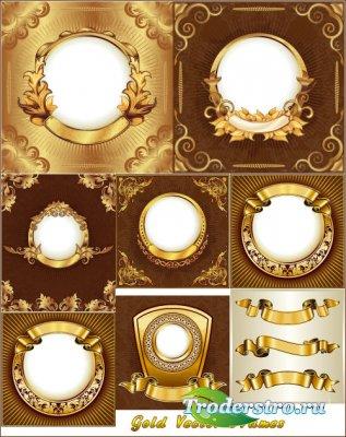 Золотые ленточные рамки с золотыми листьями (Вектор)