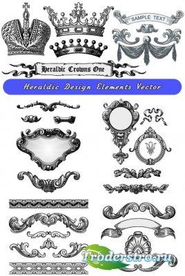 Геральдические декоративные узоры и короны (Вектор)