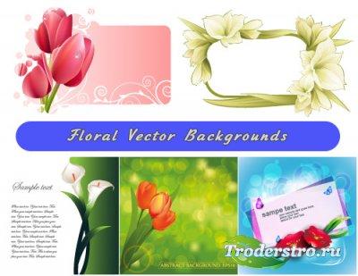 Цветочная композиция Тюльпаны рамка из Лилии (Вектор)