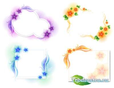 Фиолетовые, голубые, желтые цветочные нежные рамки (Вектор)