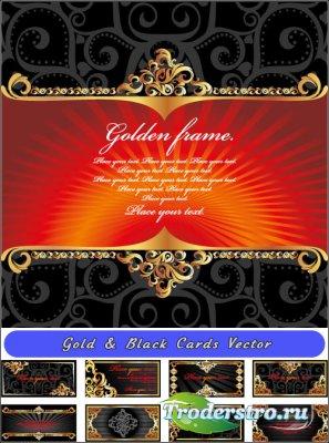 Черные карточки с золотыми кружевами (Вектор)